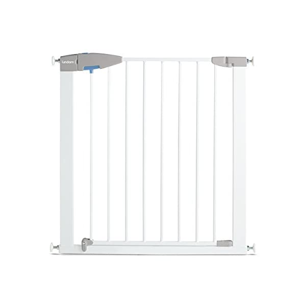 Lindam Sure Shut Porte Pressure Fit Safety Gate, White, 76-82 cm Lindam Easy close, push to shut closing mechanism; squeeze and lift handle for easy one handed adult opening Four point pressure fit - U shaped power frame provides solid pressure fitting; pressure indicator assures baby gate is installed correctly One way opening for use on bottom of stairs; two way opening for use in doorways providing maximum flexibility; optional second lock at base of baby gate 1
