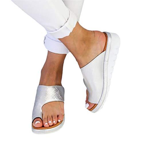 Damen Zehentrenner Damen Sommer Sandalen mit Keilabsatz Böhmische Perlen Flip Flops Silber 41EU Jeweled Slingback