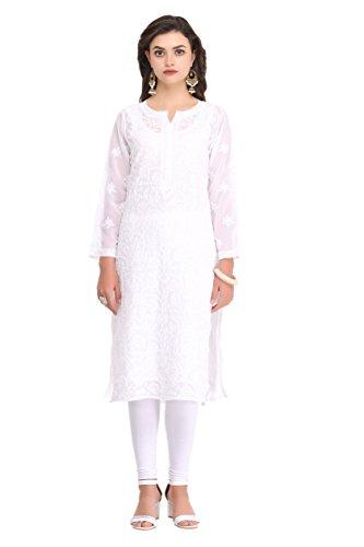 ADA Lucknow Chikan Hand Embroidered Faux Georgette Kurti Kurta Regular Wear A95485