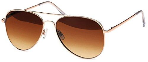 Hatstar Polarisierte Pilotenbrille Verspiegelt Fliegerbrille Sonnenbrille Pornobrille Brille mit Federscharnier (64 Polarisiert | Rahmen Gold - Braun verlauf)