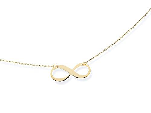 Echte 585 Gold Kette/COLLIER, Infinity Symbol Liebe Unendlichkeit Gelbgold 43cm