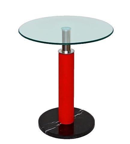 ts-ideen Table ronde à plateau en verre de sécurité trempé Épaisseur 10 mm Socle noir/pied rouge 60 cm Pour appoint ou