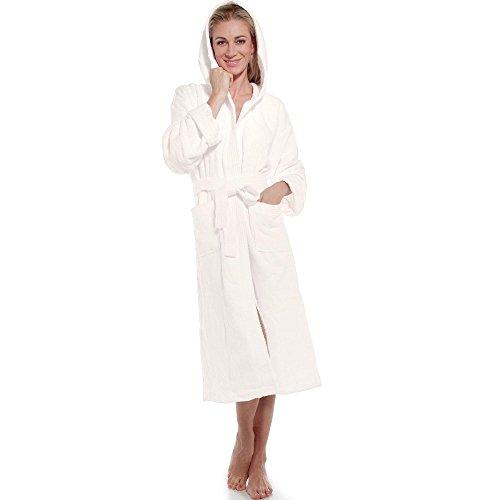 aqua-textil Frottee Bademantel mit Kapuze aus 100% Baumwolle, für Damen u. Herren, Morgenmantel Föhr 1000397 Natur M -