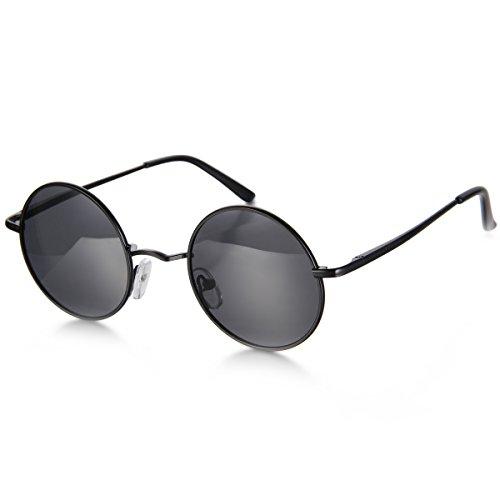 Aroncent Gafa de Sol Polarizada Retra contra UV400 Lente Redonda de Resina Protección de Ojos para Carreras, Viaje, Conducción, Golf, y Actividades Exteriores para Hombre Mujer Unisex (Negro)
