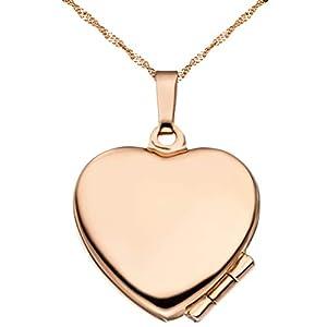 Medaillon Hochglanz Herz 925 Sterling Silber rotvergoldet zum Öffnen für Bildereinlage 2 Fotos Amulett von Haus der Herzen® mit Schmuck-Etui