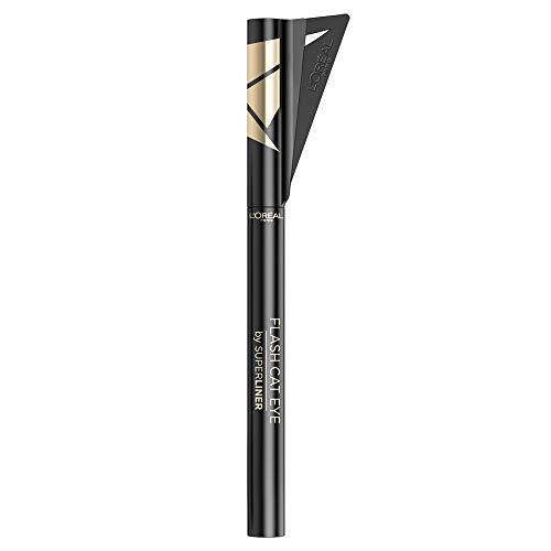L'Oréal Paris Superliner, Eyeliner Flash Cat Eye, Formula a Lunga Tenuta, Resistente all'Acqua, Tratto Pulito e Preciso in un Flash, 01 Black