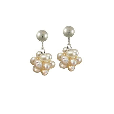 Cluster White Freshwater Pearl Drop Clip On Earrings With Gift Box