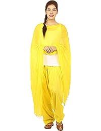 JAIPUR FASHION HUB Women's/Girl's 100% Pure Cotton Solid Full Patiyala salwar Pant With Dupatta Set (Free Size____Yellow)