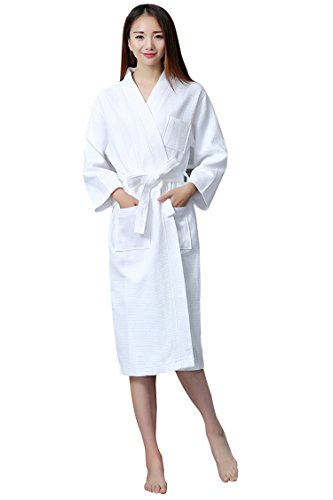 Aibrou-Unisex-Waffle-Weave-Bathrobe-Dressing-Gown-100-Cotton-Lightweight-Robe-for-Spa-Hotel-Sleepwear