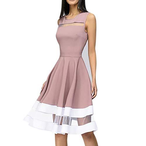 BHYDRY Frauen-Elegantes knielanges reizvolles Maschen-Patchwork-Oansatz ärmelloses Partykleid(Medium,Rosa) -