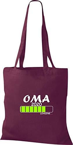 Shirtinstyle Stoffbeutel Baumwolltasche OMA 2020 Loading Geburt Geschenk Farbe Weinrot (Oma Baby Halloween)