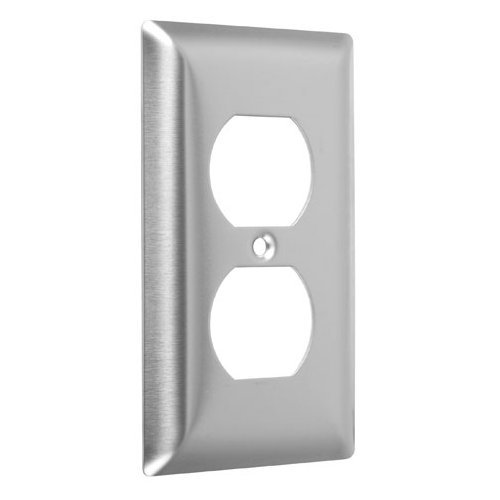 Hubbell-Bell WSS-D Standard Stainless Steel Wallplate with One Duplex, Single Gang, Smooth Brushed Finish by Hubbell Bell
