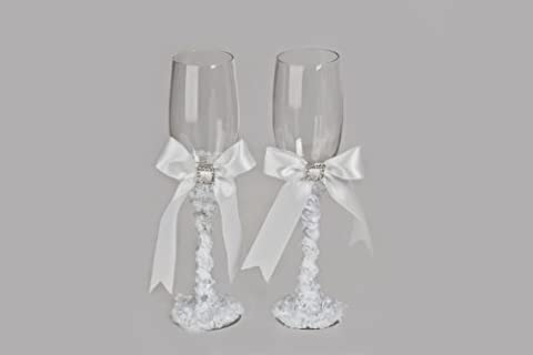Pair of Wedding Flutes / Toasting Glasses with Diamante Crystals and Satin Ribbon, ideal Engagement, Valentines or Anniversary Gift - White Rose & Diamante Square-Themed