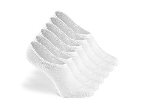 Greylags PREMIUM Invisible Sneaker Socken, rutschfest, 6 Paar - gekämmte Baumwolle bequem ohne drückende Naht in weiß - 35-38
