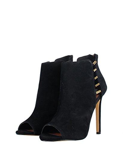 Steve Madden Lola Black Suede Shoes - Sandali Neri Camoscio Dettagli Oro Black