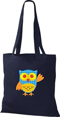Farbe diverse ShirtInStyle Eule blau Stoffbeutel Tragetasche Bunte Retro Owl Jute niedliche Pwz8rRPq