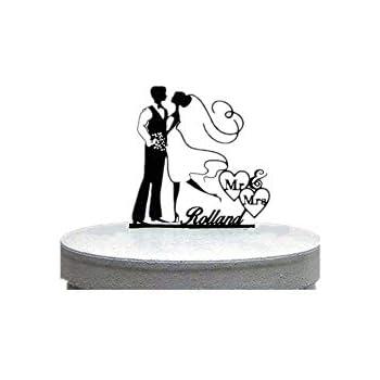 motif couple qui sembrasse Silhouette de g/âteau de mariage mari/é et mari/ée vintage en acrylique