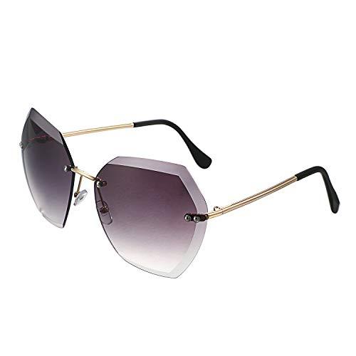 Schwarze Randlose Brillen (Aroncent Unisex Retro Sonnenbrille Klassische Sommer UV400 Brille Schneidlinse Vintage Randlose Brille für Damen Mädchen Schwarz)