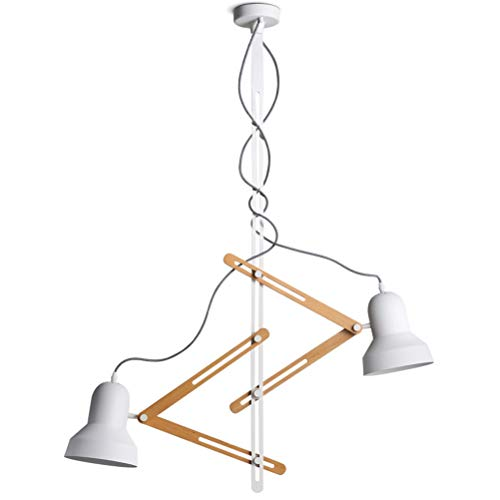 HN Lighting Nordic Simple Araña Personalidad De Madera Arte Creativo Doble Cabeza Colgante de Luz Telescópico Brazo Pixar Regla Restaurante Lámpara de Techo