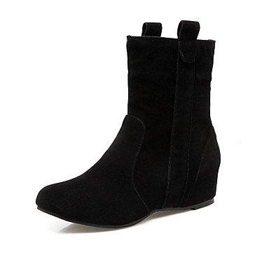 GLL&xuezi Da donna Stivaletti Comoda Finta pelle Autunno Inverno Casual Formale Footing Lacci Zeppa Nero Grigio Giallo Rosso 2,5 - 4,5 cm black