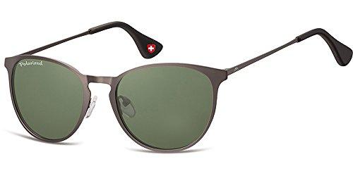Demel Augenoptik Moderne Sonnenbrille für Damen und Herren – Polarisierte Gläser mit UV400-Schutz – Inklusive Brillenetui und Mikrofasertuch Modell: MP88 (Anthrazit) (Design Safilo)
