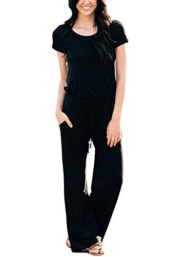 Longwu Damen Kurzer Hülsen Tunnelzug beiläufiger langer Hosen Overall Spielanzug Jumpsuit (Schäfchen Kostüm)