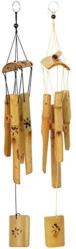 com-four® 2 Windspiele aus Bambus, EIN toller Hingucker für Ihren Garten [Auswahl variiert]
