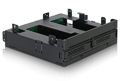 ICY Dock ExpressCage MB732SPO-B Ultra Slim/Slim ODD Bracket & Dual 6,3 cm SAS/SATA HDD/SSD Hot Swap Cage für Externe 5,25 Zoll ODD-Schacht Slim Carrier