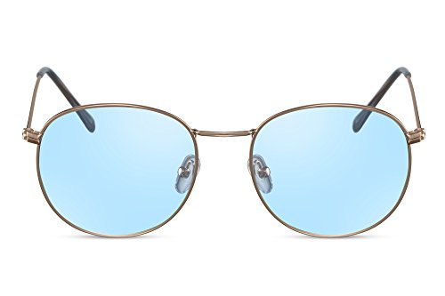 Cheapass Sonnenbrille Rund-e Gold-en Blau-e Gläser Hipster UV-400 Sonnenschutz Metall-Rahmen Damen Herren