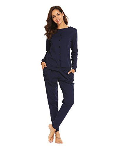 Untlet Damen Schlafanzug Pyjama Set Klassisches Stricken langen Ärmeln Sleepwear, Dunkelblau377, EU 42(Herstellergröße:XL)