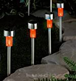 4 x Orange Solar Garden Light Led - Stainless Steel - Mini Stick Post Path Marker Border