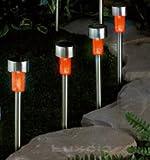 Pictures of 4 x Orange Solar Garden Light Led - Stainless Steel - Mini Stick Post Path Marker Border