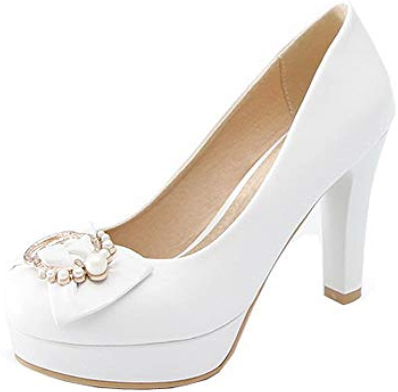 368dfcc96fa AalarDom Women s High-Heels PU Solid Pull-On Pumps-Shoes