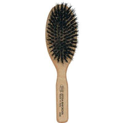 3 vE premiere 2036 - Brosse professionnelle pour cheveux à Teta ovale avec manche en bois de hêtre, poils résistant