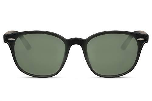 Cheapass Sunglasses Sonnenbrille Breit rechteckig Matt Schwarze Schattierungen mit grünen Gläsern UV400 Frauen Männer
