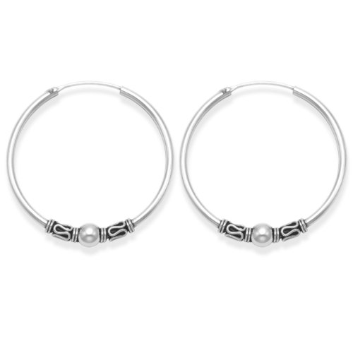Sterling Silver Large Bali Hoop earrings, Ball & twist wires - Size: 35mm 6215. Gift Boxed