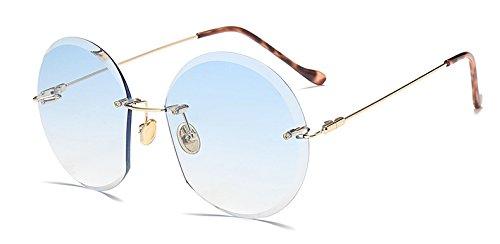 Hykis Frauen Randlos Sonnenbrille Marke Designer Vintage-Gradient Sun-Glas-Oval Frameless Brille brillen Oculos [blau]