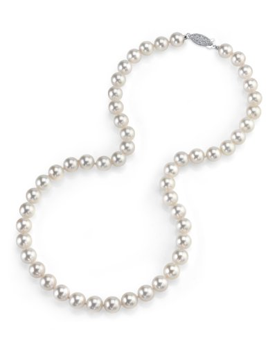 "14K Gold 7.0-7.5mm Japanese Akoya White Cultured Pearl Necklace - AAA Quality, 16"" Choker Length"