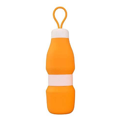 HONGFAN Tragbare Auslaufsichere Flasche, Kompressibler Silikonkörper, BPA-frei, Für Campingwandern, Fitnesslauf Geeignet, 520 Ml 520Ml/ Orange