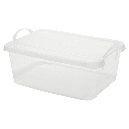 Cama de plástico cajas de almacenamiento con tapas y asas de transporte apilables ligero, Transparente, 4 Boxes