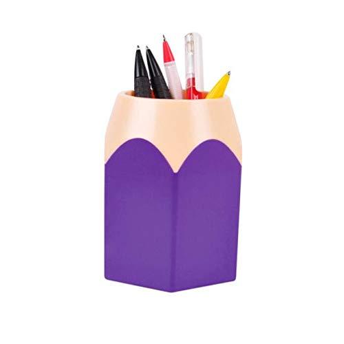 MDenker Federmäppchen Make-upbürste Vase Bleistift Pot Pen Holder Stationery Storage Schreibtisch Ordnungssystem - einfach zu bedienender, kratzfester und hochwertiger Stifteköcher (Lila)