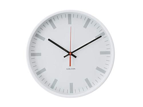 Trendfinding Karlsson Design Wanduhr Uhr Quarzuhr Glasfront Klassiker Scanline Bahnhof weiß
