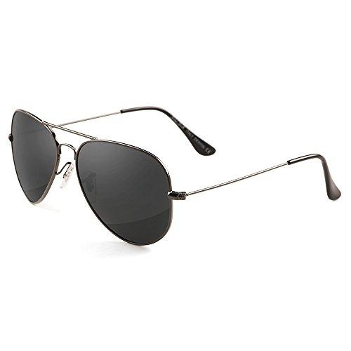 Grey Jack Polarisierte Pilotenbrille Sonnenbrille Modebrille für Männer Frauen Grau Rahmen Schwarz Linse 62mm