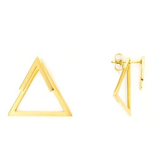 Heideman Ohrringe Damen Dreieck Triangel aus Edelstahl gold farbend matt eckige Ohrstecker für Frauen 2 in 1 Ohrschmuck Doppelohrringe Doppel vorne und hinten