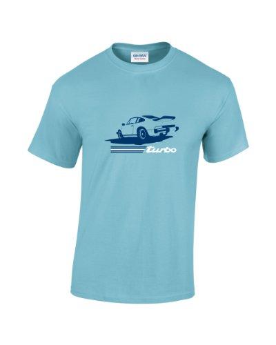 T-Shirt, Retro-Design, Motiv: Porsche 911 Turbo Gr. X-Large, sky