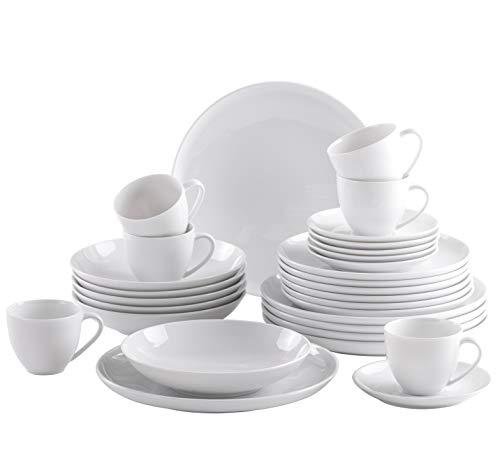 Kahla 710973M90071XO Jazz weiß Porzellanservice für 6 Personen Geschirrset 30-teilig modernes Kombiservice Komplettset rund Teller Tassen Porzellangeschirr