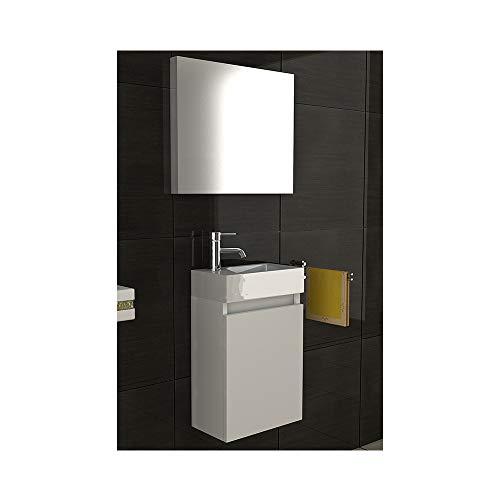 bad1a Exklusive vormontierte Badmöbel-Set in Weiß Hochglanz mit Softclose-Funktion 40x22 cm mit Mineralguss Waschbecken und Unterschrank