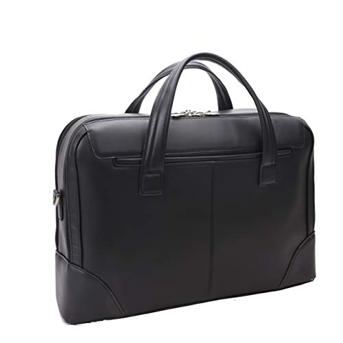 Dual Compartment Laptop Briefcase, Leather, Mid-Size, Black - Harpswell   Mcklein - 88565