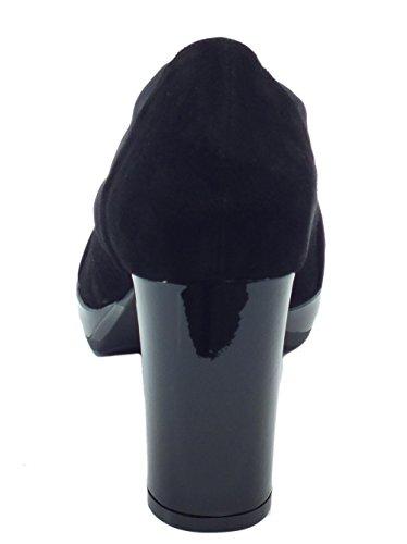 MELLUSO Tronchetti in Camoscio e Tessuto Elasticizzato Nero Tacco Alto Nero