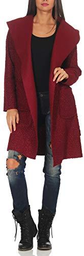Malito Damen Wollmantel kurz | Boucle Wool | Trenchcoat mit Kapuze | weicher Dufflecoat | Parka - Jacke 9320 (Bordeaux)